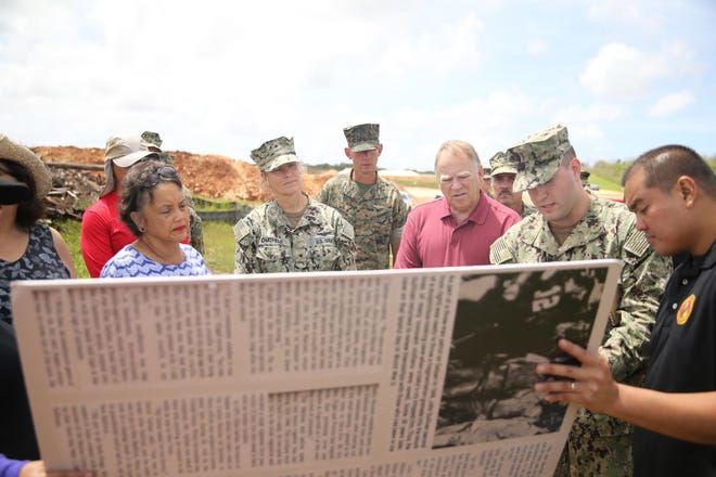 Gov. Lou Leon Guerrero visited Northwest Field on Thursday, July 18 where multiple discoveries of ancient artifacts were made since December 2018during construction of the live-fire training range complex.