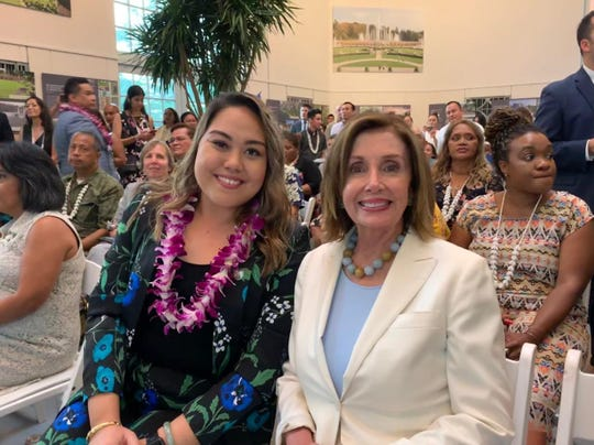 Sen. Amanda Shelton with U.S. House Speaker Nancy Pelosi during last week's celebration in Washington, D.C. of Guam's 75th Liberation Day. Shelton also drummed up support for Guam Del. Mike San Nicolas' bill seeking to fix the delay in paying Guam's war reparations. San Nicolas' H.R. 1365 is up for a full House vote on July 24.