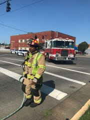 Emergency responders at the scene of a crash at Second and Green streets. (July 23, 2019)