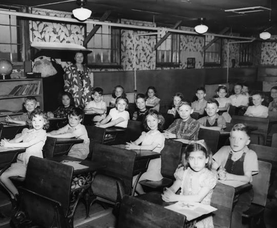 One of two schoolrooms at Tyndall Towne with Hilda Thorngrough as the teacher in this 1947 photo.