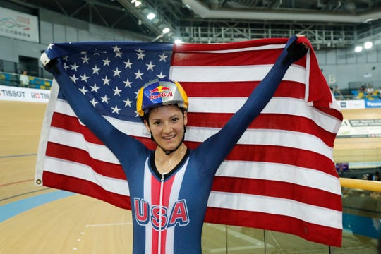HONG KONG - APRIL 15: Chloe Dygert of the United States celebrates after winning Women's Individual Pursuit Final on Day 4 in 2017 UCI Track Cycling World Championships at Hong Kong Velodrome on April 15, 2017 in Hong Kong, Hong Kong.  (Photo by Kevin Lee/Getty Images)