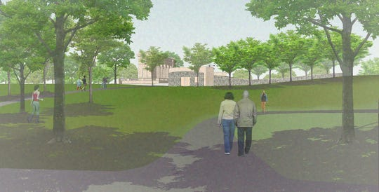 Artists rendering of the view proposed Taggart Performance Venue at Riverside Park from the parking area.