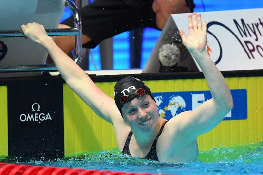 Lilly King of the United States celebrates after winning the Women's 100m Breaststroke Final on day three of the Gwangju 2019 FINA World Championships at Nambu International Aquatics Centre.