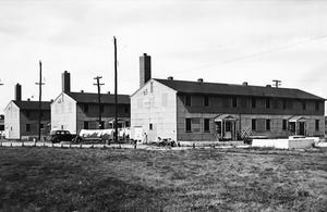 Laundry dries in the breeze at the Tyndall Towne veteran housing complex in Indianapolis in 1947.