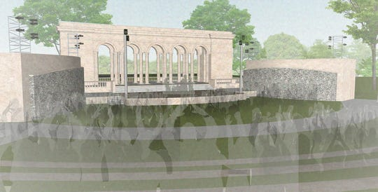 An artist's rendering shows how the Taggart amphitheater would look at Riverside Park.