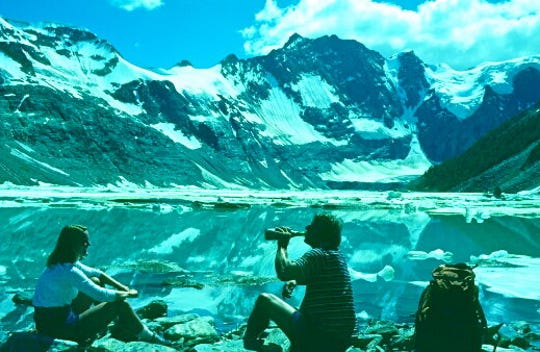 Margie Ebert on a trip with The Iowa Mountaineers in 1981 at the Lake of the Hanging Glaciers near Banff, Canada.