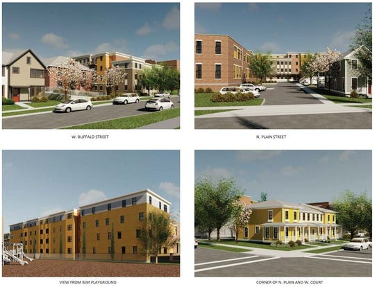 Renderings of the proposed redevelopment at 320 West Buffalo Street