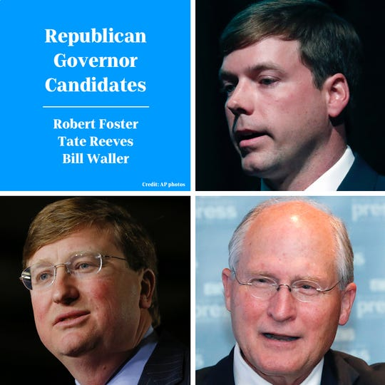 Republican candidates for Mississippi governor are Rep. Robert Foster, Lt. Gov. Tate Reeves and former state Supreme Court Chief Justice Bill Waller Jr. (Photos: AP)