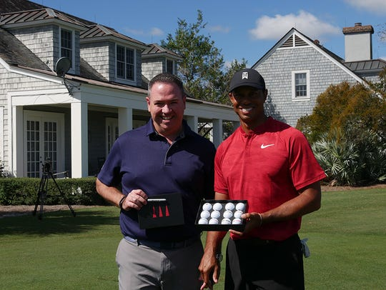 Golfballs.com CEO Tom Cox is shown with Tiger Woods. The 2018 Dozen-a-Day Giveaway + Tiger Woods Sweepstakes offered entrants an opportunity to learn from the golf great. This year the contest returns with a chance for one lucky winner to get a dinner with Fred Couples.