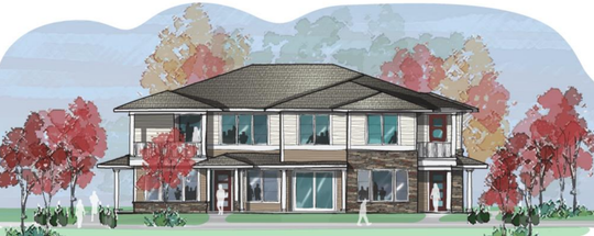 A rendering of a three-unit apartment building is part of Mayberry Home's conceptual plan for a housing and commercial development proposed in Hartland Township.