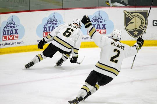 Brighton's Colin Bilek (6) played three seasons of junior hockey out east before going to Army.