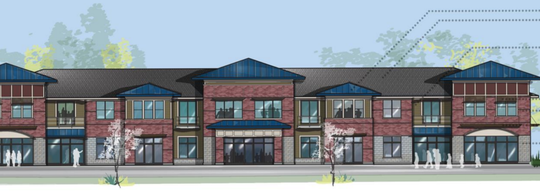 A conceptual rendering of a commercial building designed by Mayberry Homes was submitted to Hartland Township. The company is proposing a housing and commercial development.