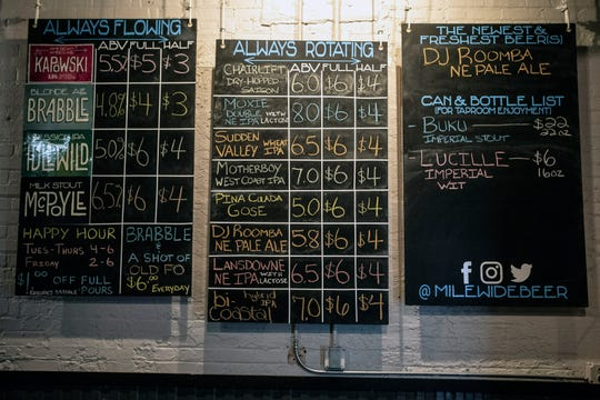 The selection at Mile Wide Beer Company is rotated for weekly customer variety. 7/19/19