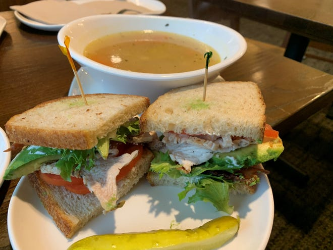 The roasted turkey and avocado BLT with chicken noodle soup from Panera Bread, South Naples.