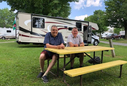 "This season on the Welsh TV show ""Codi Hwyl,"" actor John Pierce Jones and comedian and entertainer Dilwyn Morgan are road tripping in an RV from New York to Wisconsin."