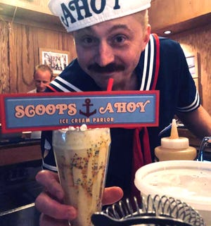 """A bartender at Don's Diner served a Stranger Things """"Scoops Ahoy"""" themed drink. The bar will be doing a pop-up bar on July 25"""