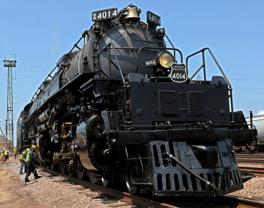 The newly restored Big Boy No. 4014, the world's largest steam locomotive, stops Tuesday in Altoona.