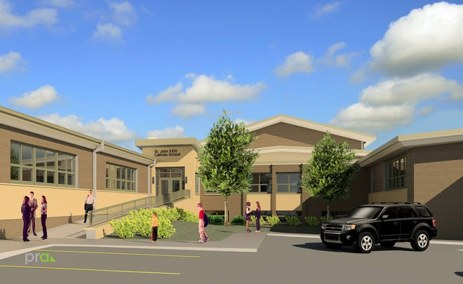 A rendering shows what St. John XXIII Catholic School will look like when construction is finished. The parish was recently scammed out of $510,000 designated for the project, but more than half of those funds have been returned as part of an IRS investigation.