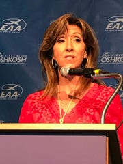Tammie Jo Shults, pilot of Southwest Flight 1380, speaks at EAA AirVenture Tuesday about how she and her co-pilot managed to take control of their aircraft after an engine failed in April 2018, killing one passenger.