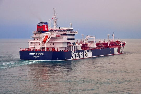 "An undated handout photo made available by Stena Bulk shows British-registered oil tanker ""Stena Impero"" at sea."