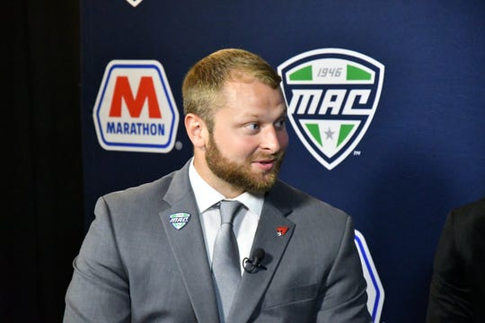 Ball State's Jacob White speaks during Mid-American Conference Football Media Day. White is a redshirt senior inside linebacker for the Cardinals.