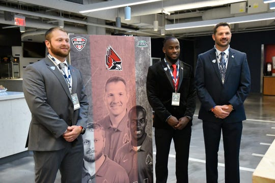 Jacob White, Malik Dunner and coach Mike Neu (left to right) represented Ball State football at Mid-American Conference Football Media Day. The Cardinals are entering Neu's fourth season as head coach.