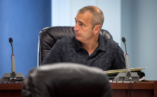 Delaware County council member Larry Bledsoe discusses a raise to the Delaware County paramedics Tuesday morning at the council's regular monthly meeting. DCEMS officials said that lower than average salary and high calls volumes were affecting employee retention with the department.