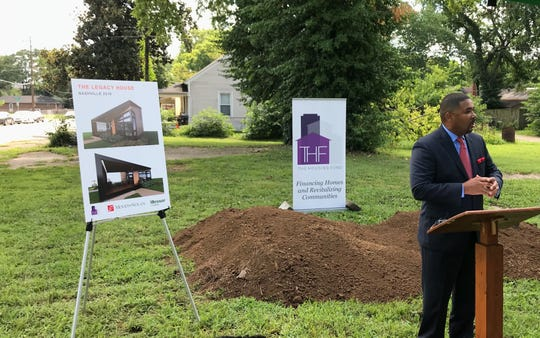 The Housing Fund CEO Marshall E. Crawford Jr. speaks at a groundbreaking for the first affordable home development from Nashville's community land trust on Tuesday July 23, 2019