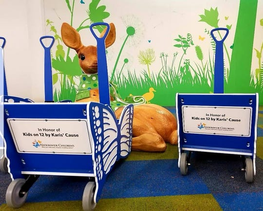 Karis' Cause purchased four butterfly wagons to transport children for medical procedures, such as chemotherapy.
