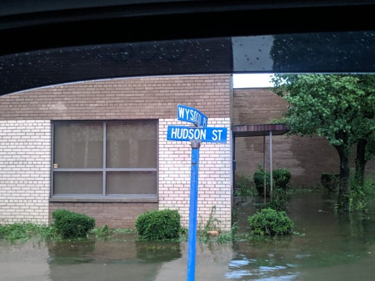 Flooding on the corner of Wysocki Place and Hudson Street in Hackensack.