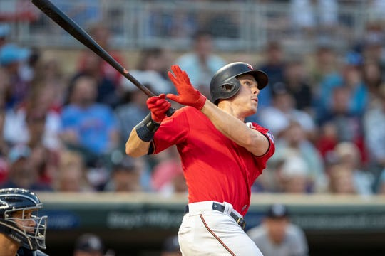 Jul 22, 2019; Minneapolis, MN, USA; Minnesota Twins center fielder Max Kepler (26) hits a solo home run in the fourth inning against the New York Yankees at Target Field. Mandatory Credit: Jesse Johnson-USA TODAY Sports