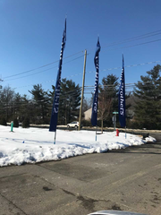 Reception flags at Toll Brother sales office off East Crescent Avenue in Mahwah.