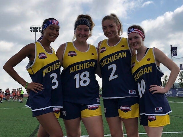 Four local lacrosse players: Gabrielle Fuller, Madeline Percy, Madison Sopha and Kira Gendjar (left to right), were named as 2019 Maverik National High School Lacrosse All-Americans.