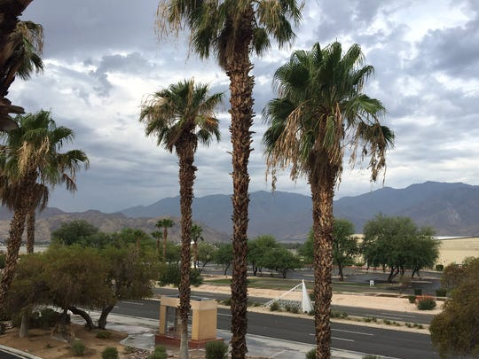 Rain fell in Palm Springs briefly, Tuesday, July 23, 2019.