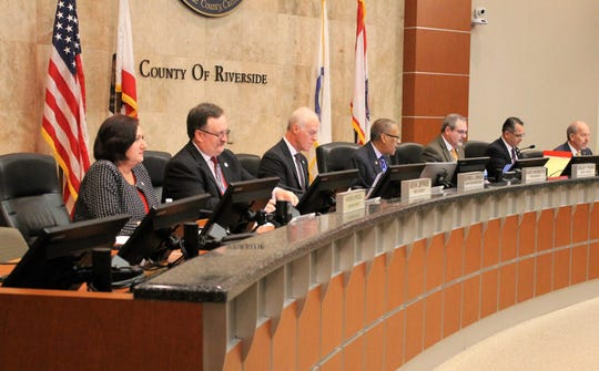 The Riverside County Board of Supervisors, pictured in July, was taking up an agreement on Tuesday, Oct. 1, 2019, with a consultant to study revisions to the county's development impact fees.