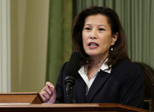 FILE - In this March 23, 2015, file photo, California Supreme Court Chief Justice Tani Cantil-Sakauye delivers her State of the Judiciary address before a joint session of the Legislature at the Capitol in Sacramento, Calif. Current and former governors, a U.S. senator and other notable figures are helping to create a new nonpartisan effort aimed at reforming the criminal justice system. Cantil-Sakauye is one of the trustees of the Council on Criminal Justice.
