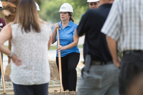 """La Quinta Mayor Linda Evans participates in the symbolic """"groundbreaking"""" for what will be an estimated $13.5 million of improvements in infrastructure in the Village area on July 23, 2019. Improvements include reduction of traffic lanes on Calle Tampico and a stretch of Eisenhower Drive, wider bike lanes, mid-street crosswalks added on Tampico and five traffic roundabouts created at key intersections in La Quinta Village."""
