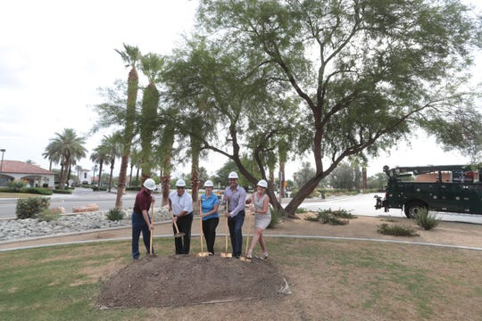 """La Quinta Mayor Linda Evans, at center, is flanked by council members, from far right, Kathleen Fitzpatrick, Steve Sanchez, John Peña and Robert Radi during the """"groundbreaking"""" ceremony for what will be an improvement of infrastructure in the city's Village area, including several traffic roundabouts. The 14-month project will be done in three stages, starting in August on Calle Tampico with expected completion in October 2020."""