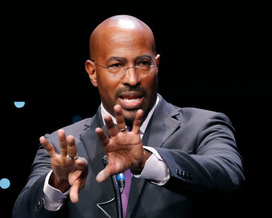 Political activist Van Jones speaks to an audience in January. Jones works with others on a new nonpartisan effort aimed at reforming the criminal justice system.