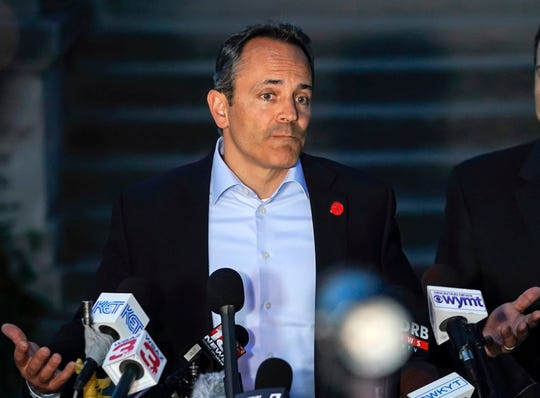 FILE - In this May 21, 2019, file photo, Kentucky Gov. Matt Bevin speaks at a news conference after winning the Republican gubernatorial primary in Frankfort, Ky. Current and former governors, a U.S. senator and other notable figures are helping to create a new nonpartisan effort aimed at reforming the criminal justice system. Former California Gov. Jerry Brown, a Democrat who left office in January, and Bevin, a Republican seeking re-election, are among 25 trustees of the Council on Criminal Justice. The council formally launched on Tuesday, July 23, 2019. Its goal is to make recommendations that can win bipartisan support.