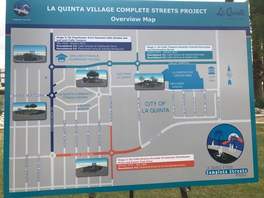 This map outlines the phased La Quinta Village complete streets project, to be done in three stages starting in August 2019. The project is expected to be completed in October 2020.