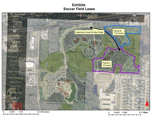 A map shows the lease agreement between Santa Rosa County and Pensacola State College for a soccer field complex at PSC's Gulf Breeze campus center.