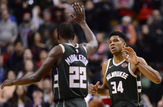 Khris Middleton (22) and Giannis Antetokounmpo (34) have become an all-star duo in Miwaukee.