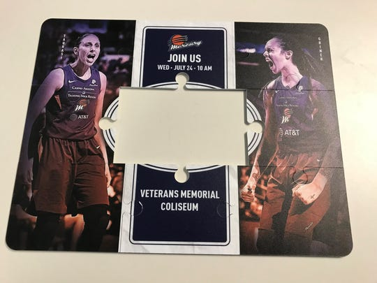 The assembled puzzle pieces sent to the Arizona Republic by the Phoenix Mercury.