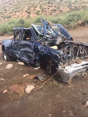 This vehicle was caught in flash flood near Globe, Arizona on July 22, 2019.