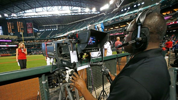 Jody Jackson, reporter and anchor for FOX Sports Arizona, makes an on-air appearance during a pregame show ahead of a Diamondbacks game against he Reds on May 30, 2014.