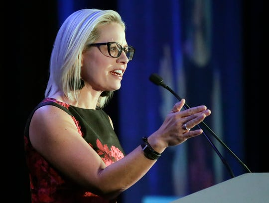 Sen. Kyrsten Sinema, D-Ariz. speaks at the Florida Democratic Party state conference on June 8, 2019, in Orlando.