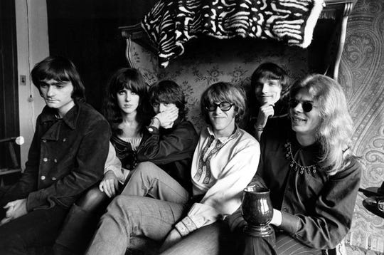 Members of the rock group Jefferson Airplane pose for in San Francisco, Ca., March 8, 1968.  From left are, Marty Balin, lead singer, songwriter and founder; Grace Slick, vocalist; Spencer Dryden, drummer; Paul Kantner, electric guitar and vocalist; Jorma Kaukonen, lead guitarist, vocalist and songwriter; and Jack Casady, bass guitarist.  (AP Photo)