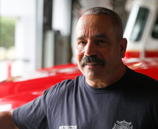 City of Poughkeepsie firefighter Jimmy Brugger during a firefighter boot camp at the Highland Fire District on July 17, 2019. Brugger, a 20 year veteran is a state fire instructor and has been battling cancer.