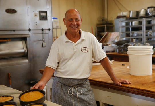 Caffe Aurora owner Lou Strippoli in the bakery on July 23, 2019.